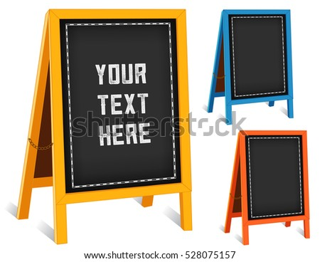 Business Signs, chalk board folding sidewalk easels with brass chains, bright frames, blackboard background with copy space. EPS8 compatible.