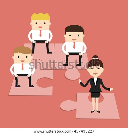 Business situation. Business people folded puzzle. The symbol of a successful collaboration. Vector illustration.