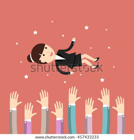 Business situation. People throw a businesswoman in the air. Concept of success. Vector illustration.