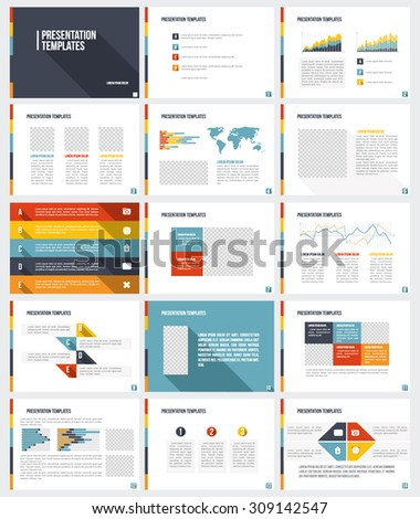 Business Presentation Templates Set Vector Infographic Stock