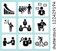 business training, company management icon set - stock vector