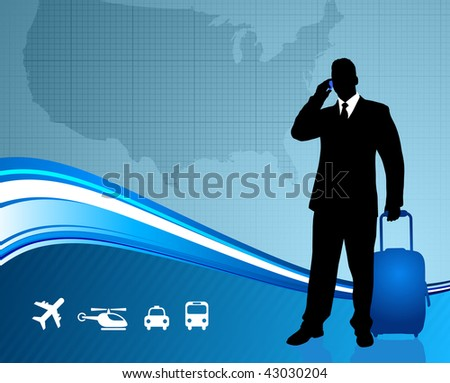 Business Traveler with United States map  Original Vector Illustration