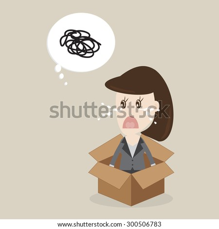 business woman confused think in the box,Vector illustrations