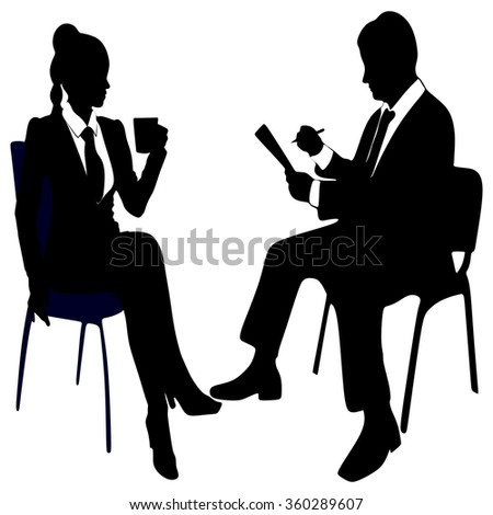 business woman drinking coffee or tea while business man working