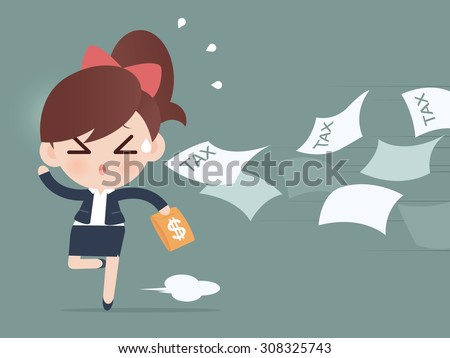Business woman running away from tax