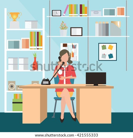 Man Working Laptop Flat Modern Illustration Stock Vector