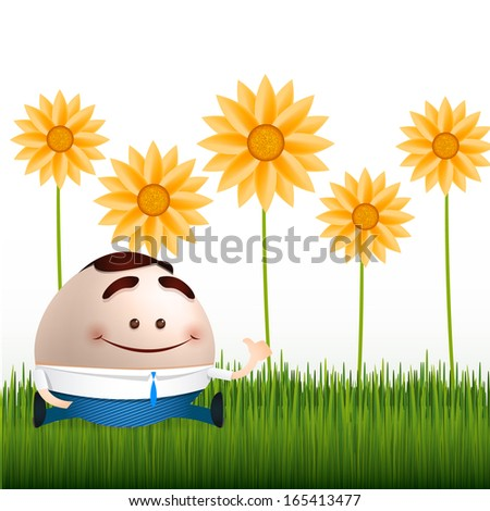 businessman cartoon on flowers and grass background