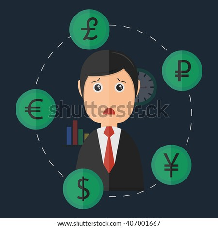 Businessman confused by exchanging currency. Business concept of circulation of money.