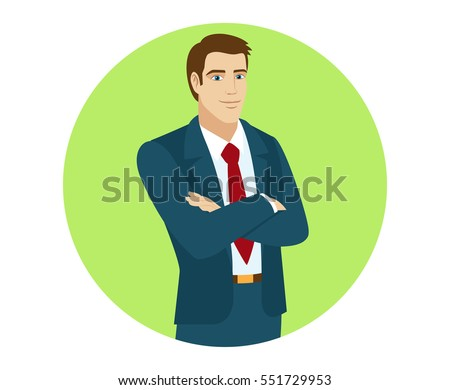 Businessman crossing his arms over his chest. Portrait of businessman in a flat style. Vector illustration.