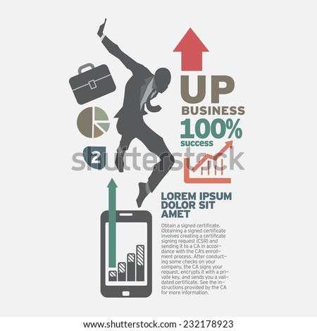 Businessman going up. the concept business idea design vector set.