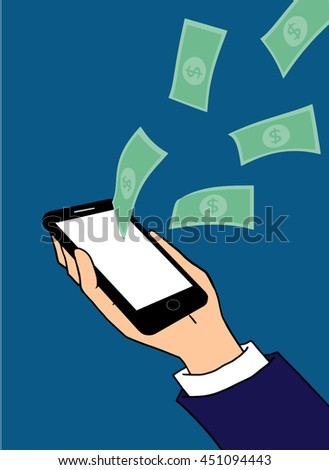 Businessman hold mobile phone concept you can work online and make money a lot vector.