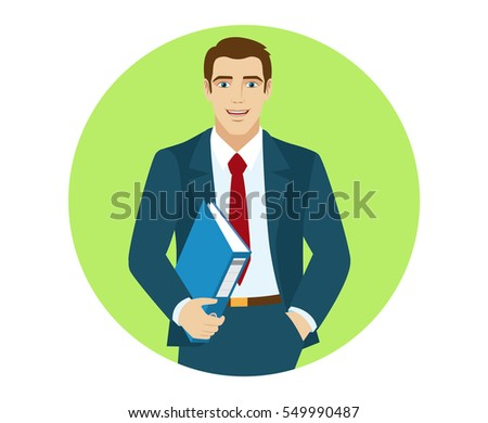Businessman holding a folder. Portrait of business man in a flat style. Vector illustration.