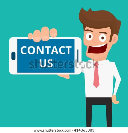 Contact Us Cartoon >> Businessman Businesswoman Holding Welcome Sign Vector
