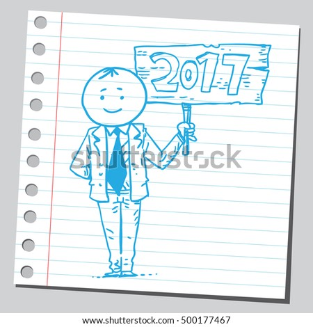 Businessman holding 2017 year wooden banner