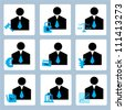 businessman, profile icon set, finance icon set - stock vector