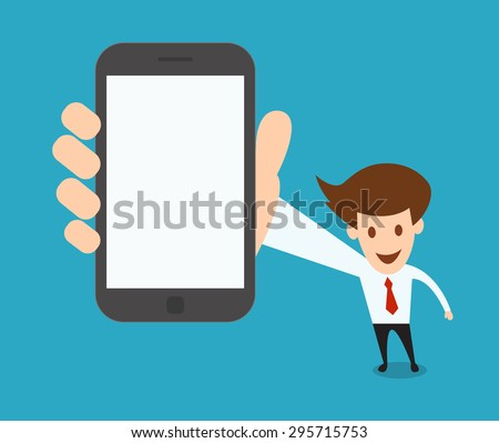 businessman showing a blank smart phone screen vector illustration