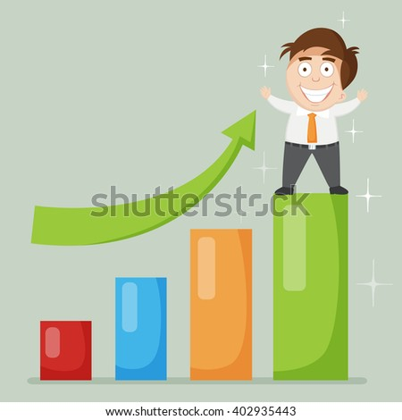 Businessman stand on grow up bar chart, vector illustration