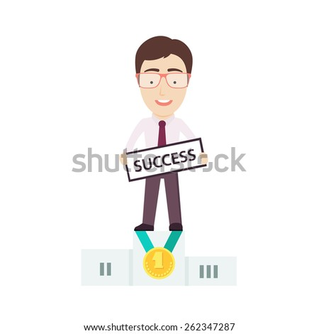 Businessman Stand on the First Place of a Winner Podium. Conceptual Vector Flat Illustration Depicting Someones Business Success.