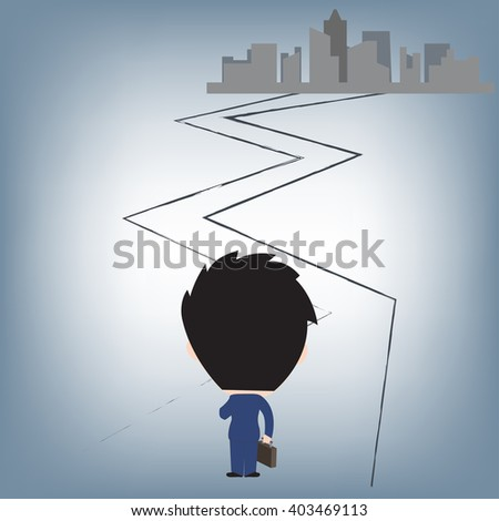 Businessman standing and start to journey to the future and building as background,vector illustration in flat design