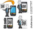 Businessman with QR code for mobile devices. 4 cartoons - stock photo
