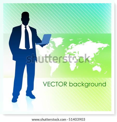Businessman with World Map on Vector Background Original Illustration