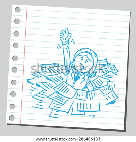 Businesswoman drowning, in paper piles