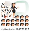 Businesswoman. Parts of body template for design work and animation. Face and body elements. Funny cartoon character. Vector illustration. Isolated on white background. Set - stock vector