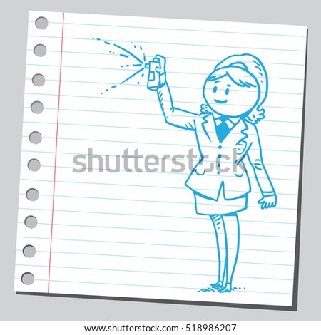 Businesswoman with spray can