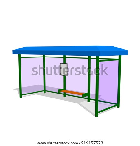 Busstop. Isolated on white background. 3d Vector illustration.
