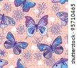 Butterflies floral pattern - stock vector