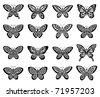 Butterflies icon set - stock vector