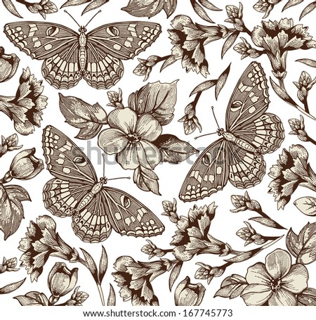 Butterflies, moths, insects, baroque textile. Beautiful Apple carnation realistic flowers. Vintage background. Wallpaper. Rose, Wildflowers, summer. Floral. Vector victorian style Illustration.
