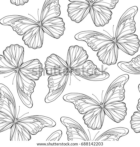 Vector Seamless Pattern Butterflies Stylish Graphic Stock