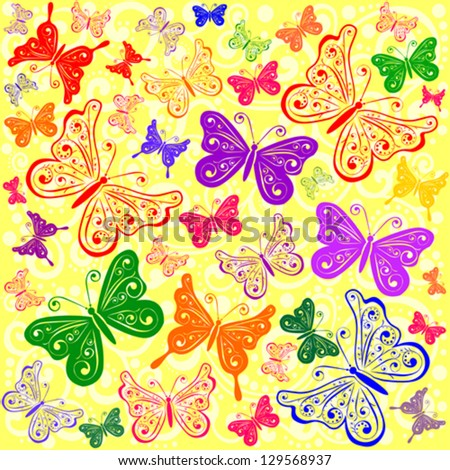 Butterfly seamless pattern. Vector illustration.