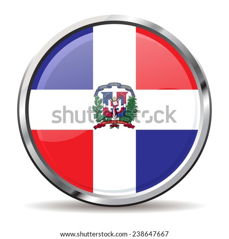 button Flag of the Dominican Republic