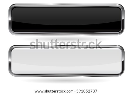 Buttons. Black and white button with metal chrome frame. Vector illustration isolated on white background