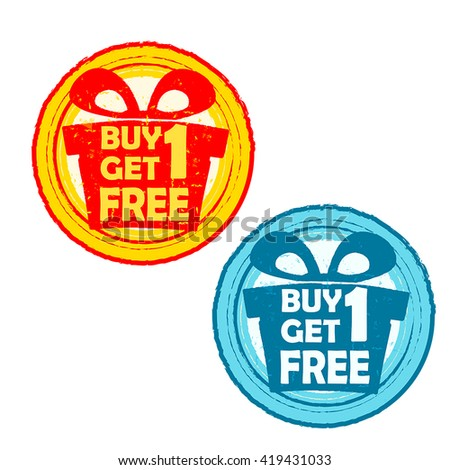 buy one get one free with gift signs - text in yellow red and blue drawn label with present box symbols, business shopping concept, vector