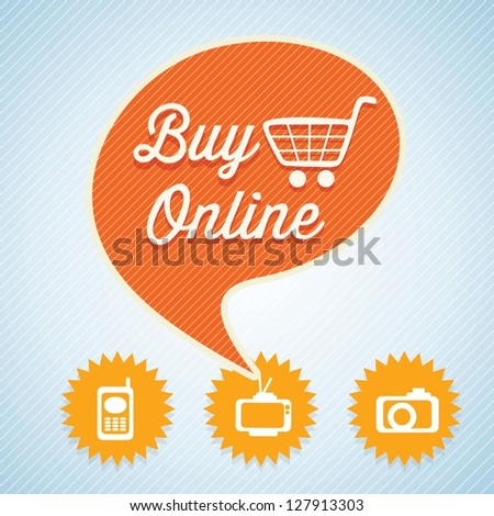 Buy Online text bubble with cart for shopping. Vector Illustration
