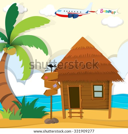 Cabin On The Beach Illustration