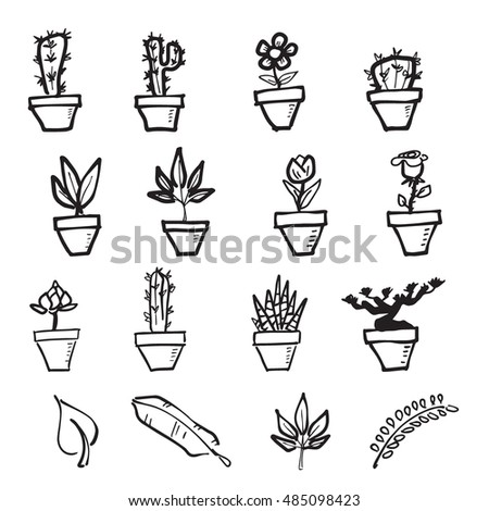 Cactus and leaf cartoon drawing icons