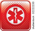 caduceus medical symbol on red halftone web button - stock photo