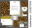 Cafe corporate identity template with food elements. Vector company style for brandbook and guideline. EPS 10 - stock photo