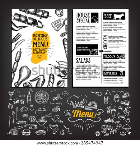 Cafe Menu Restaurant Brochure Food Design Stock Vector 281547980