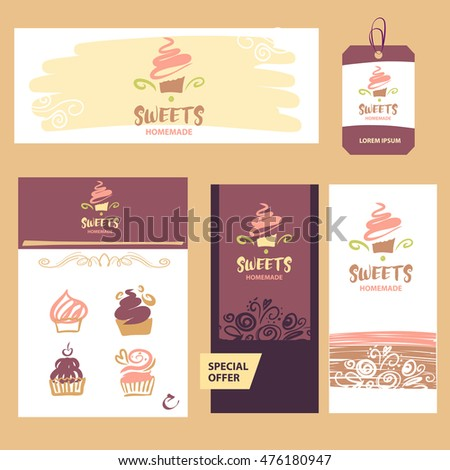 Cake and sweet shop logo. Homemade dessert. Element of design for corporate identity, banner, business card, poster with freehand drawn vector sweet logo.