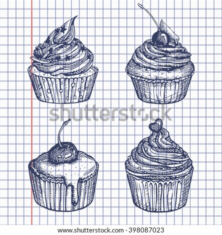 Cake food vector Illustration. Set object isolated on white background. Doodle sketch style. Cloth design, wallpaper, wrapping, menu, restaurant, cafe, kitchen, wedding, birthday and holiday. Yummy.