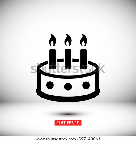 Line Icon Birthday Cake Stock Vector 638014036 Shutterstock
