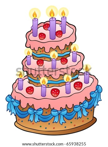 Cake with candles and ribbons - vector illustration.