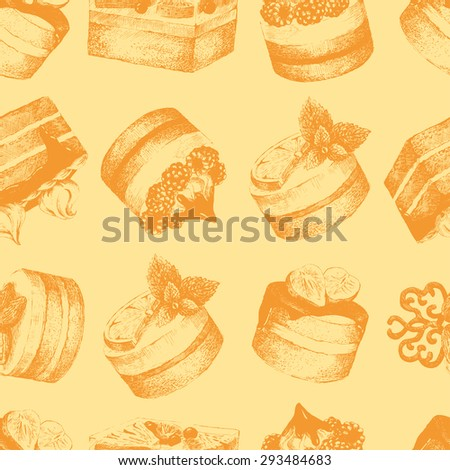 Cakes seamless pattern. Ocher monochrome seamless pattern with graphic hand-drawn cakes. Vector illustration.