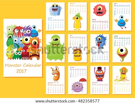 Calendar 2017. Cute halloween monsters for every month. Vector. Isolated.