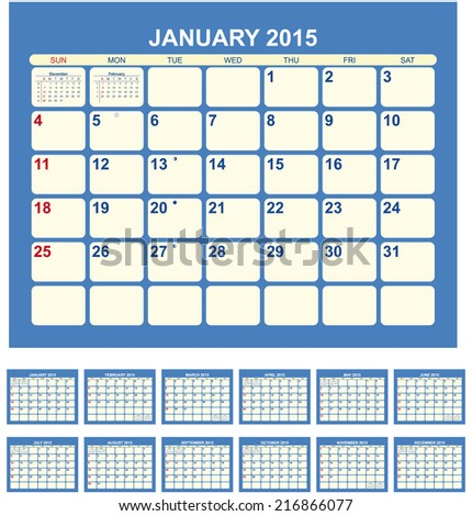 Calendar for 2015  in English